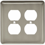 Brainerd Mfg Co/Liberty Hdw W10250-SN-U Duplex Wall Plate, 2-Gang, Stamped, Round, Satin Nickel Steel
