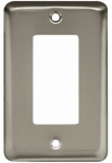 Brainerd Mfg Co/Liberty Hdw W10251-SN-U Decorator Rocker/GFI Wall Plate, 1-Gang, Stamped, Round, Satin Nickel Steel