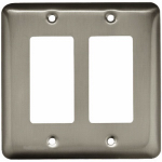 Brainerd Mfg Co/Liberty Hdw W10252-SN-U Decorator Rocker/GFI Wall Plate, 2-Gang, Stamped, Round, Satin Nickel Steel