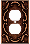 Brainerd Mfg Co/Liberty Hdw W10372-CPS-U Duplex Wall Plate, 1-Gang, French Lace, Sponged Copper Zinc