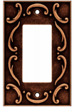 Brainerd Mfg Co/Liberty Hdw W10373-CPS-U Decorator Rocker/GFI Wall Plate, 1-Gang, French Lace, Sponged Copper Zinc