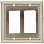 Brainerd Mfg Co/Liberty Hdw W10536-SN-U Decorator Rocker/GFI Wall Plate, 2-Gang, Architectural, Satin Nickel Zinc