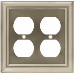 Brainerd Mfg Co/Liberty Hdw W10537-SN-U Duplex Wall Plate, 2-Gang, Architectural, Satin Nickel Zinc
