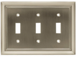 Brainerd Mfg Co/Liberty Hdw W10599-SN-U Toggle Wall Plate, 3-Gang, Architectural, Satin Nickel Zinc