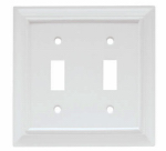 Brainerd Mfg Co/Liberty Hdw W10763-W-U Toggle Wall Plate, 2-Gang, Wood Architectural, White MDF Material