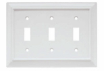 Brainerd Mfg Co/Liberty Hdw W10764-W-U Toggle Wall Plate, 3-Gang, Wood Architectural, White MDF Material