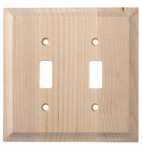 Brainerd Mfg Co/Liberty Hdw W29447-UN-U Toggle Wall Plate, 2-Gang, Huntsfield, Unfinished Birch