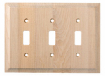 Brainerd Mfg Co/Liberty Hdw W29452-UN-U Toggle Wall Plate, 3-Gang, Huntsfield, Unfinished Birch