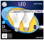 G E Lighting 21907 LED Indoor Floodlight Bulb, R30, 10-Watt, 2-Pk.