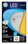 G E Lighting 33846 LED Light Bulb, Omni-Directional, White, 11-Watt