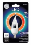 G E Lighting 89949 LED Candle Light Bulb, Clear, Candelabra Base, 4-Watt