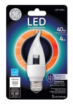G E Lighting 89951 LED Candle Light Bulb, Clear, Medium Base, 4-Watt