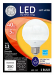 G E Lighting 20004 LED Globe Light Bulb, Dimmable, Medium Base, 5-Watt