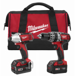 Milwaukee Electric or Electrical Tool 2697-22 M18 2-Tool Cordless Lithium Ion Combo Kit, Hammer Drill/Driver, 1/2-In.