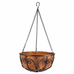 Border Concepts 72846 New Orleans Hanging Basket, Black Wrought Iron, 12-In.