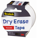3M 1905R-DE-WHT Dry Erase Tape, 1.88-In. x 5-Yds.
