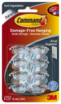 3M 17302CLR Cord Organizers With Adhesive Strips, Clear, Small, 8 Clips/12 Strips