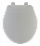 Bemis Mfg 80SLOW 000 Round Plastic Toilet Seat, Whisper-Close  STA-TITE  Hinge, White