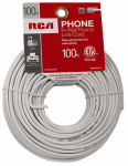 Audiovox TP004WHR Phone Line Cord, White, Round, 100-Ft.