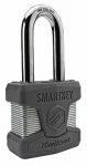 Kwikset 90260-002 SmartKey Padlock, Long Shackle, Laminated Steel, 2-In.