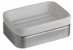 Interdesign 16070 Gia Bath Soap Dish, White Ceramic & Stainless Steel