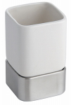 Interdesign 16170 Gia Bath Tumbler, White Ceramic & Stainless Steel