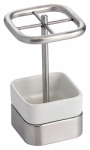 Interdesign 16270 Gia Toothbrush Stand, White Ceramic & Stainless Steel