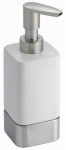 Interdesign 16470 Gia Bath Hand Soap Dispenser, White Ceramic & Stainless Steel
