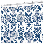 Interdesign 40424 Shower Curtain, Navy Damask Polyester, 72 x 72-In.