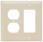 Pass & Seymour TP826ICC12 Wall Plate, 2-Gang, Decorator & Duplex, Ivory Nylon