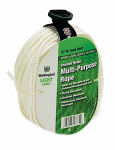 Wellington Cordage 16374 Rope, Multi-Purpose, Nylon, Diamond Braid, 47-Lb. Load Limit, White, 3/16-In. x 50-Ft.