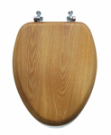 Sunstone International 19-OAK-CH Toilet Seat, Elongated, Oak With Chrome Hinges