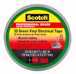 3M 10851-DL-10 Electrical Tape, Green Vinyl, Professional Grade, 3/4-In. x 66-Ft.