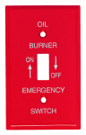 Mulberry Metals 41001 Emergency Oil Burner Wall Plate, 1-Gang, Single-Toggle, Red