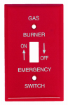 Mulberry Metals 41020 Emergency Gas Burner Wall Plate, 1-Gang, Single-Toggle, Red