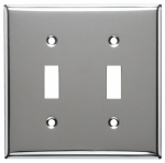 Mulberry Metals 83072 Steel Wall Plate, 2-Gang, 2-Toggle Opening, Chrome
