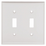 Mulberry Metals 86072 Steel Wall Plate, 2-Gang, 2-Toggle Opening, White