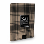 Myles International TCY6039010 Tablecloth, American Plaid, Black/Beige, Oblong, 60 x 104-In.