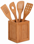 Honey Can Do Intl KCH-01080 Kitchen Utensils & Caddy, Bamboo, 5-Pc.