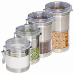 Honey Can Do Intl KCH-01310 Storage Canisters, Acrylic & Stainless, 4-In., 4-Pk.