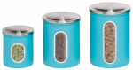 Honey Can Do Intl KCH-01312 Storage Canisters, Blue Metal, 3-Pk.