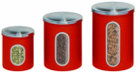 Honey Can Do Intl KCH-03011 Storage Canisters, Red Metal, 3-Pk.