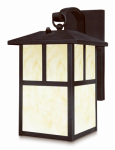 Westinghouse Lighting 6482948 Wall Lantern, Dusk-to-Dawn Sensor, Black With Honey Glass, 13-Watt