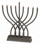 Israel Giftware Designs EM-17 Chanukah Menorah, Electric, Pewter, 11-In.
