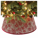 Dyno Seasonal Solutions 2264933-1 Christmas Tree Collar, Red Glitter Burlap, 11 x 26-In.