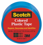 3M 190BLU 3/4x125 Blue Plastic Tape - 6 Pack