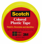 3M 190YLW 3/4x125 Yellow Plastic Tape - 6 Pack