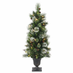 National Tree Co-Import WP3-302-40 Artificial Pre-Lit Porch Christmas Tree, Wintry Pine, 50 Clear Lights, 4-Ft.