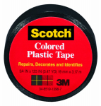 3M 190BLK 3/4x125 Black Plastic Tape - 6 Pack