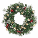 Equinox 2 WFC-4X16-30 LED Artificial Pine Wreath, Winter Frost, Battery-Operated, 30-In.